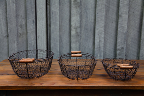 Oval Rustic Wire Baskets