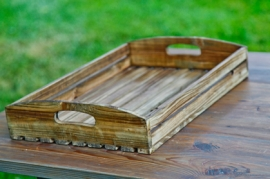 Wood Slat Farm Tray