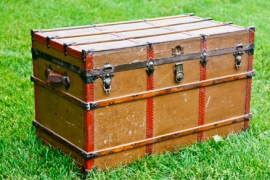 Brown & Red Vintage Steamer Trunk